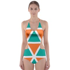 Orange green triangles pattern Cut-Out One Piece Swimsuit