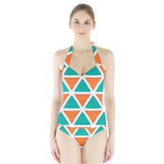 Orange green triangles pattern Women s Halter One Piece Swimsuit