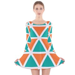 Orange green triangles pattern Long Sleeve Velvet Skater Dress