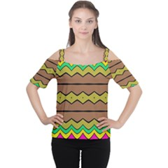 Rhombus and waves Women s Cutout Shoulder Tee