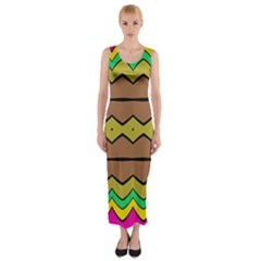 Rhombus and waves Fitted Maxi Dress