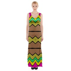 Rhombus and waves Maxi Thigh Split Dress