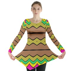 Rhombus And Waves Long Sleeve Tunic