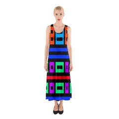 Rectangles and stripes Full Print Maxi Dress