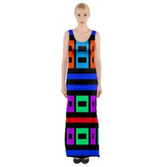 Rectangles And Stripes Maxi Thigh Split Dress