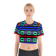 Rectangles and stripes Cotton Crop Top