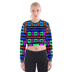 Rectangles and stripes   Women s Cropped Sweatshirt