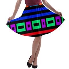 Rectangles and stripes A-line Skater Skirt