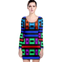 Rectangles And Stripes Long Sleeve Bodycon Dress