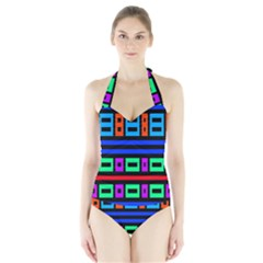 Rectangles And Stripes Women s Halter One Piece Swimsuit
