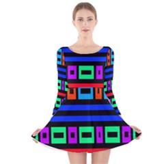 Rectangles and stripes Long Sleeve Velvet Skater Dress