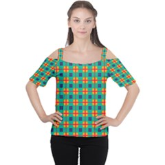 Squares in retro colors pattern Women s Cutout Shoulder Tee