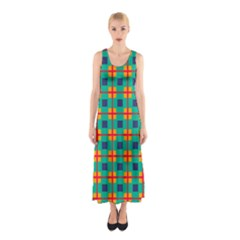 Squares in retro colors pattern Full Print Maxi Dress