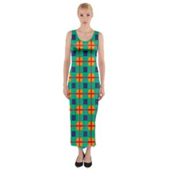 Squares in retro colors pattern Fitted Maxi Dress