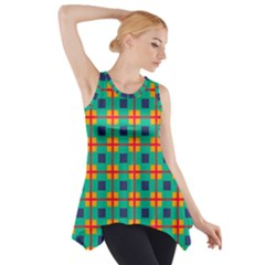 Squares In Retro Colors Pattern Side Drop Tank Tunic