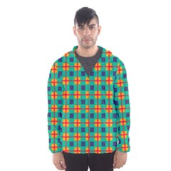 Squares in retro colors pattern Mesh Lined Wind Breaker (Men)