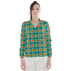 Squares in retro colors pattern Wind Breaker (Women)