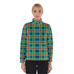 Squares In Retro Colors Pattern Winter Jacket