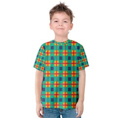 Squares in retro colors pattern Kid s Cotton Tee