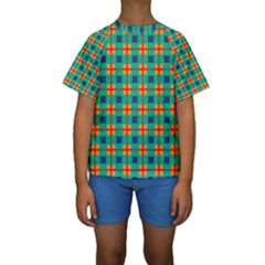 Squares in retro colors pattern  Kid s Short Sleeve Swimwear