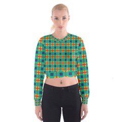 Squares in retro colors pattern   Women s Cropped Sweatshirt