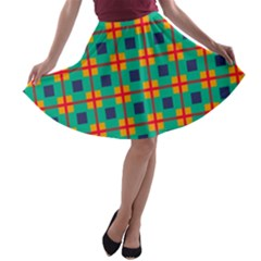 Squares in retro colors pattern A-line Skater Skirt
