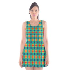 Squares in retro colors pattern Scoop Neck Skater Dress