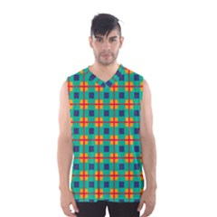 Squares in retro colors pattern Men s Basketball Tank Top