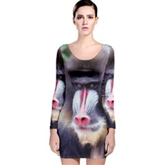 5000x5000 Mandrill Centred Long Sleeve Velvet Bodycon Dress