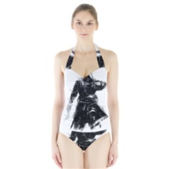 Assassins Creed Black Flag Women s Halter One Piece Swimsuit