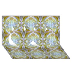 Beautiful White Yellow Rose Pattern Twin Hearts 3d Greeting Card (8x4)