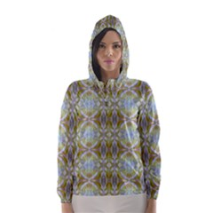 Beautiful White Yellow Rose Pattern Hooded Wind Breaker (Women)
