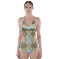 Beautiful White Yellow Rose Pattern Cut Out One Piece Swimsuit