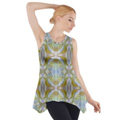 Beautiful White Yellow Rose Pattern Side Drop Tank Tunic