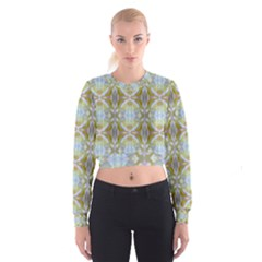Beautiful White Yellow Rose Pattern Women s Cropped Sweatshirt