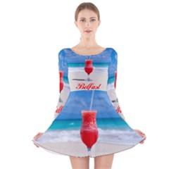 5k2 Belfast Short6 Long Sleeve Velvet Skater Dress