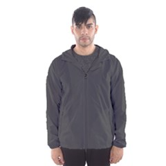 Carbon Fiber Graphite Grey and Black Woven Steel Pattern Hooded Wind Breaker (Men)