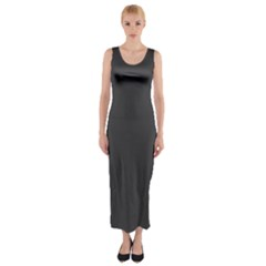 Carbon Fiber Graphite Grey And Black Woven Steel Pattern Fitted Maxi Dress