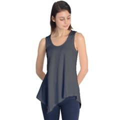 Carbon Fiber Graphite Grey And Black Woven Steel Pattern Sleeveless Tunic