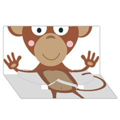 Female Monkey With Flower Twin Heart Bottom 3d Greeting Card (8x4)