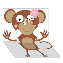 Female Monkey With Flower Apple 3d Greeting Card (7x5)