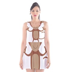 Female monkey with flower Scoop Neck Skater Dress