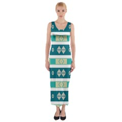 Rhombus and stripes Fitted Maxi Dress