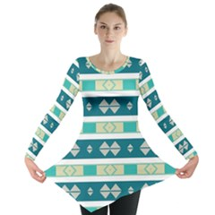 Rhombus And Stripes Long Sleeve Tunic