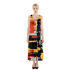Distorted shapes in retro colors Full Print Maxi Dress