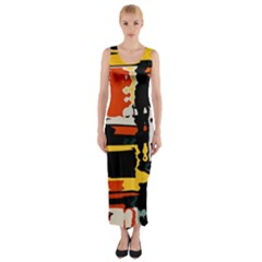 Distorted shapes in retro colors Fitted Maxi Dress