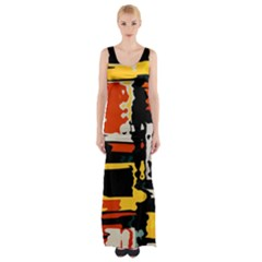 Distorted shapes in retro colors Maxi Thigh Split Dress