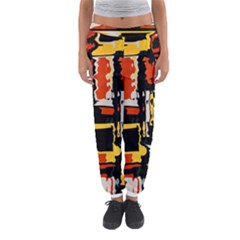 Distorted shapes in retro colors Women s Jogger Sweatpants