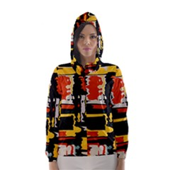 Distorted Shapes In Retro Colors Hooded Wind Breaker (women)
