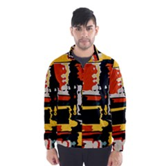 Distorted shapes in retro colors Wind Breaker (Men)